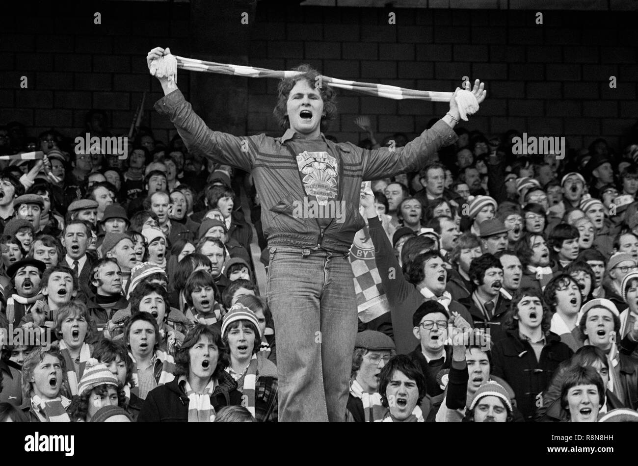 Welsh rugby supporter at Wales v England match, Cardiff Arms Park, Cardiff, Wales, March 1978. - Stock Image