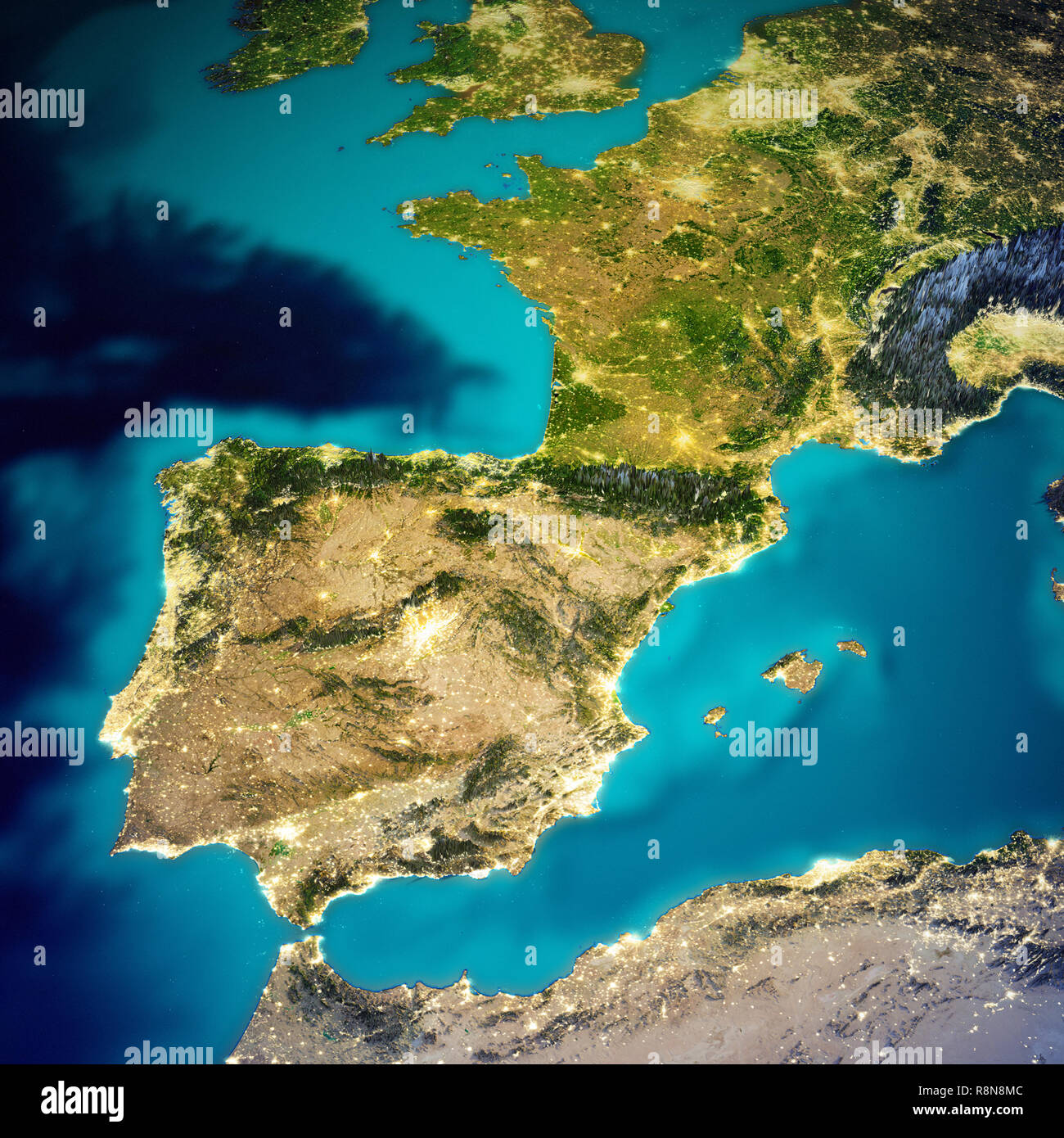 Coast Of Spain Map.Mediterranean Map Spain Stock Photos Mediterranean Map Spain Stock
