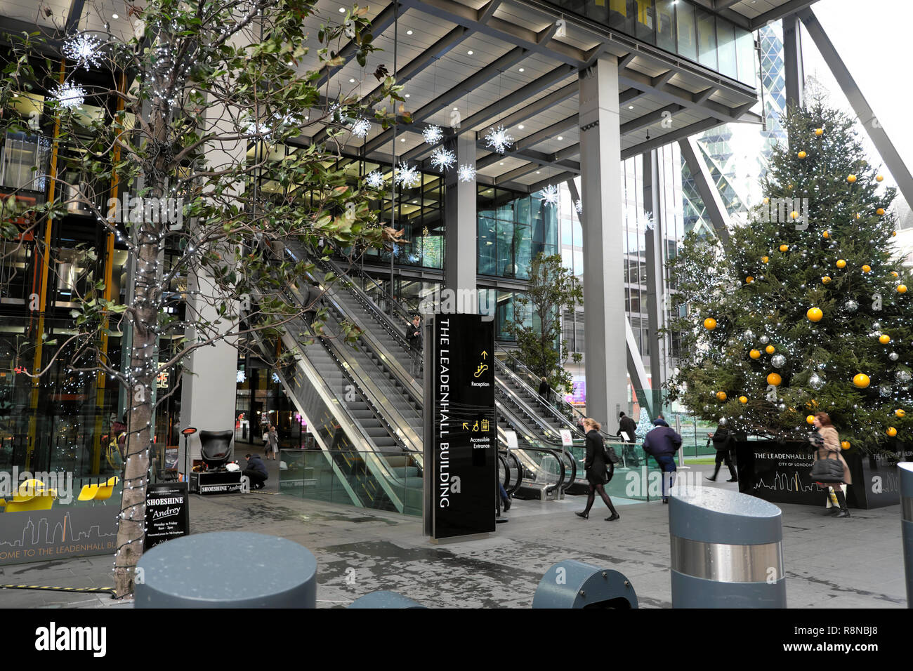 Christmas tree with bauble decorations outside The Leadenhall Building and in the City of London UK  KATHY DEWITT Stock Photo