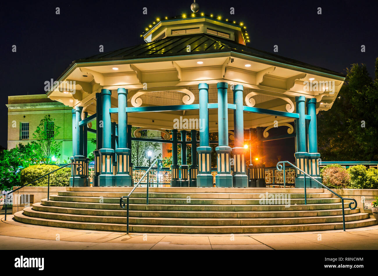 The Decatur Square gazebo and bandstand is pictured at night, June 4, 2014, in Decatur, Georgia. - Stock Image