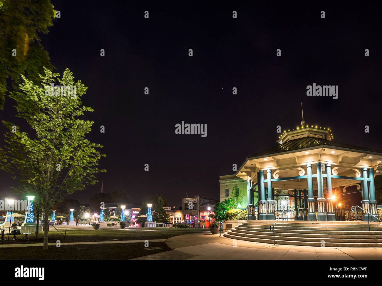 Decatur Square's gazebo and bandstand is pictured at night, June 4, 2014, in Decatur, Georgia. - Stock Image