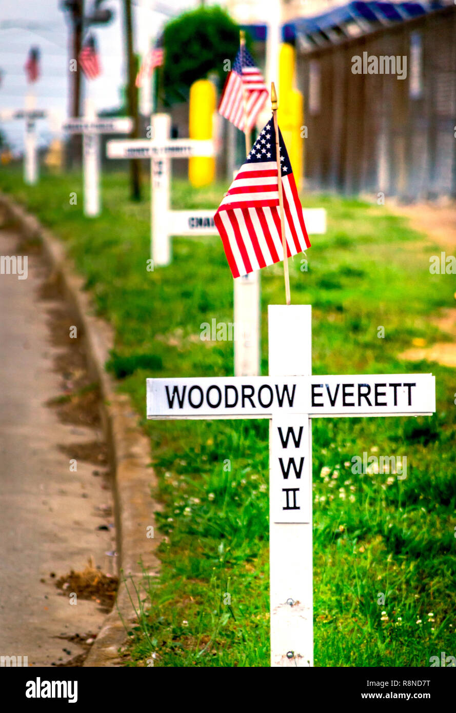 White crosses line New Peachtree Road in Doraville, Georgia, May 29, 2014. The crosses bear the names of the town's fallen war veterans. - Stock Image