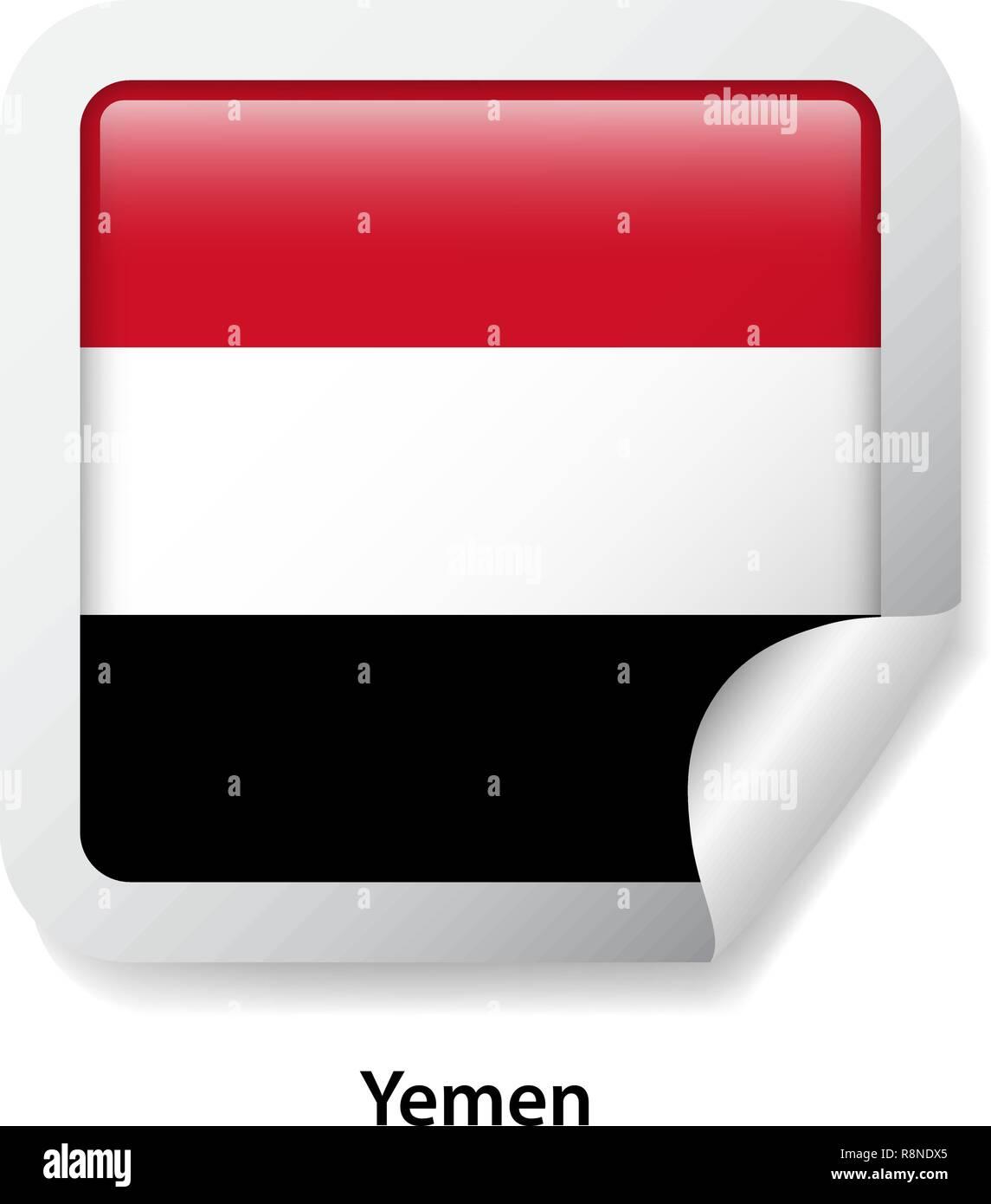 Flag of Yemen. Round glossy badge sticker - Stock Vector
