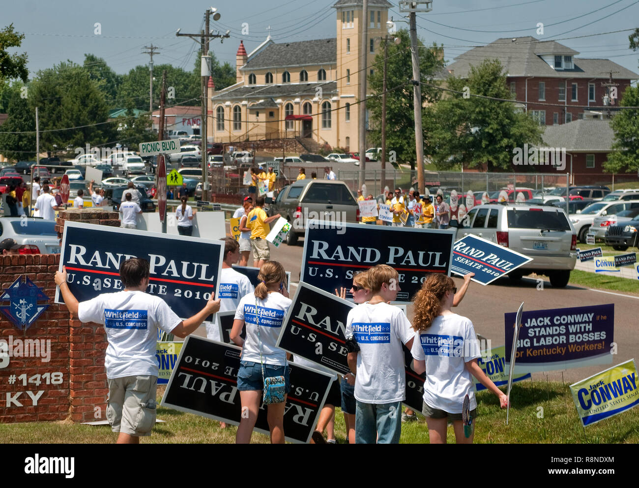 Supporters of Republican Senate candidate Rand Paul line the road Aug. 7, 2010 at the Fancy Farm picnic and political rally in Fancy Farm, Kentucky. - Stock Image