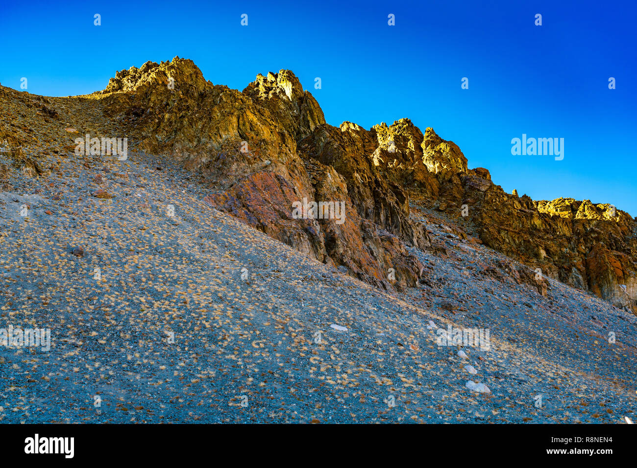 Beautiful evening light over the top of the amazing mountain at Ulgii in Western Mongolia Stock Photo
