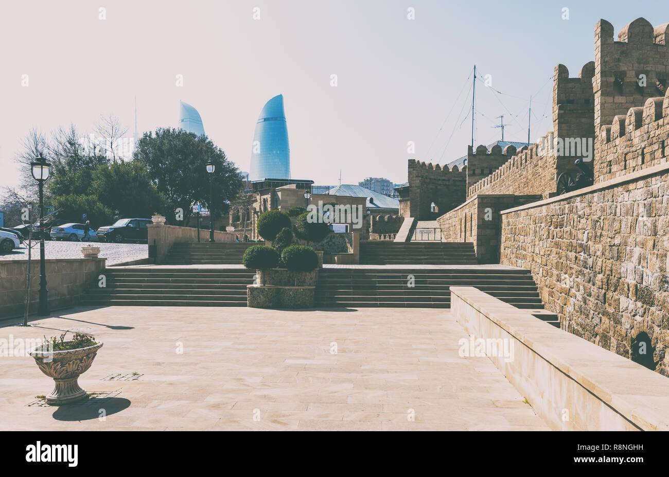 Baku/Azerbaijan - November 27, 2018. Historic center - Icheri Sheher - Stock Image
