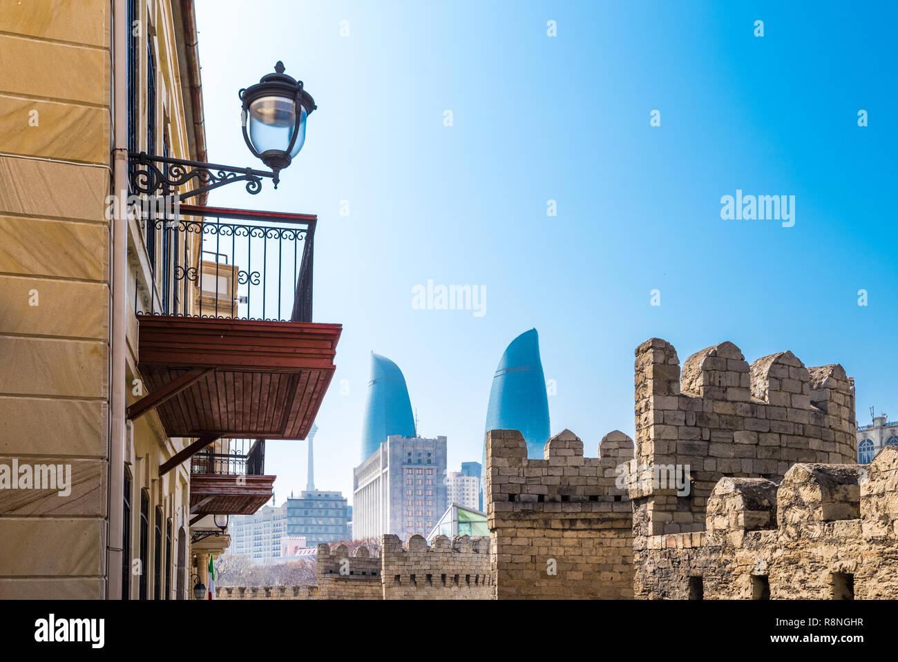 Historic center - Icheri Sheher, Baku city, Azerbaijan Republic - Stock Image