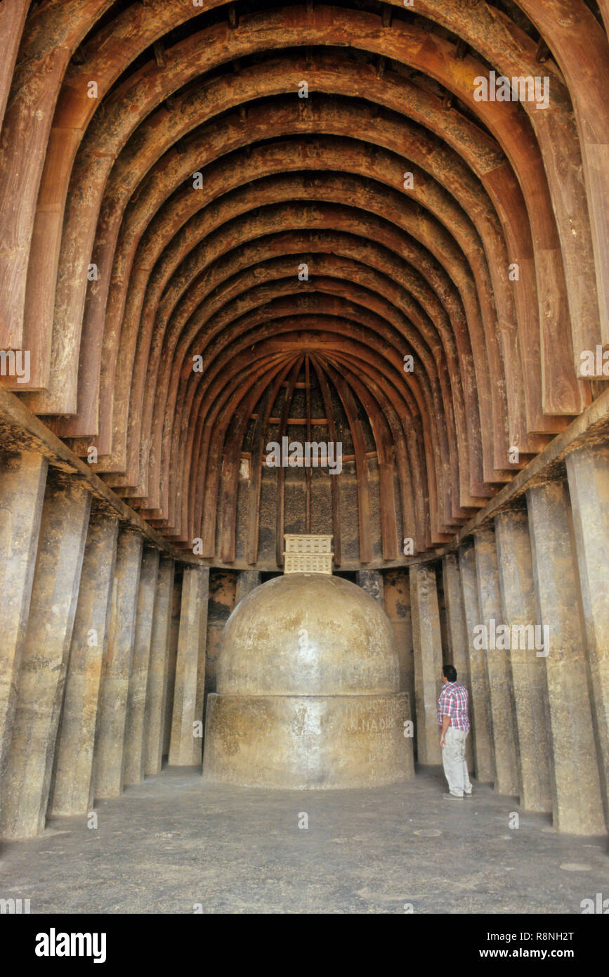 stupa at chaitya, 2nd century BC, rock cut, wooden arches, bhaja caves, pune, Maharashtra, India - Stock Image