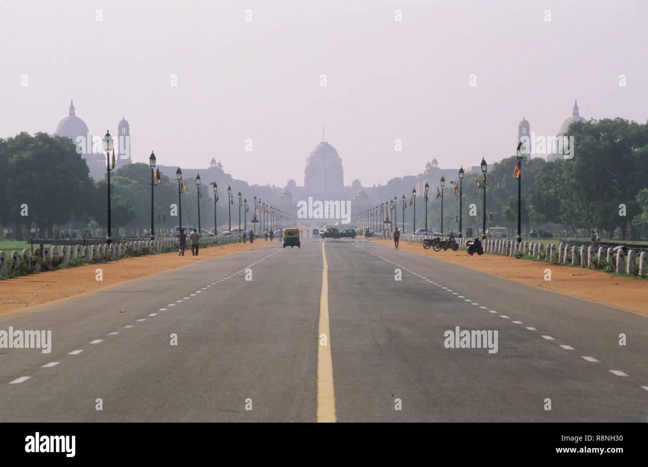 raj path and Rashtrapati Bhavan, new delhi, india - Stock Image