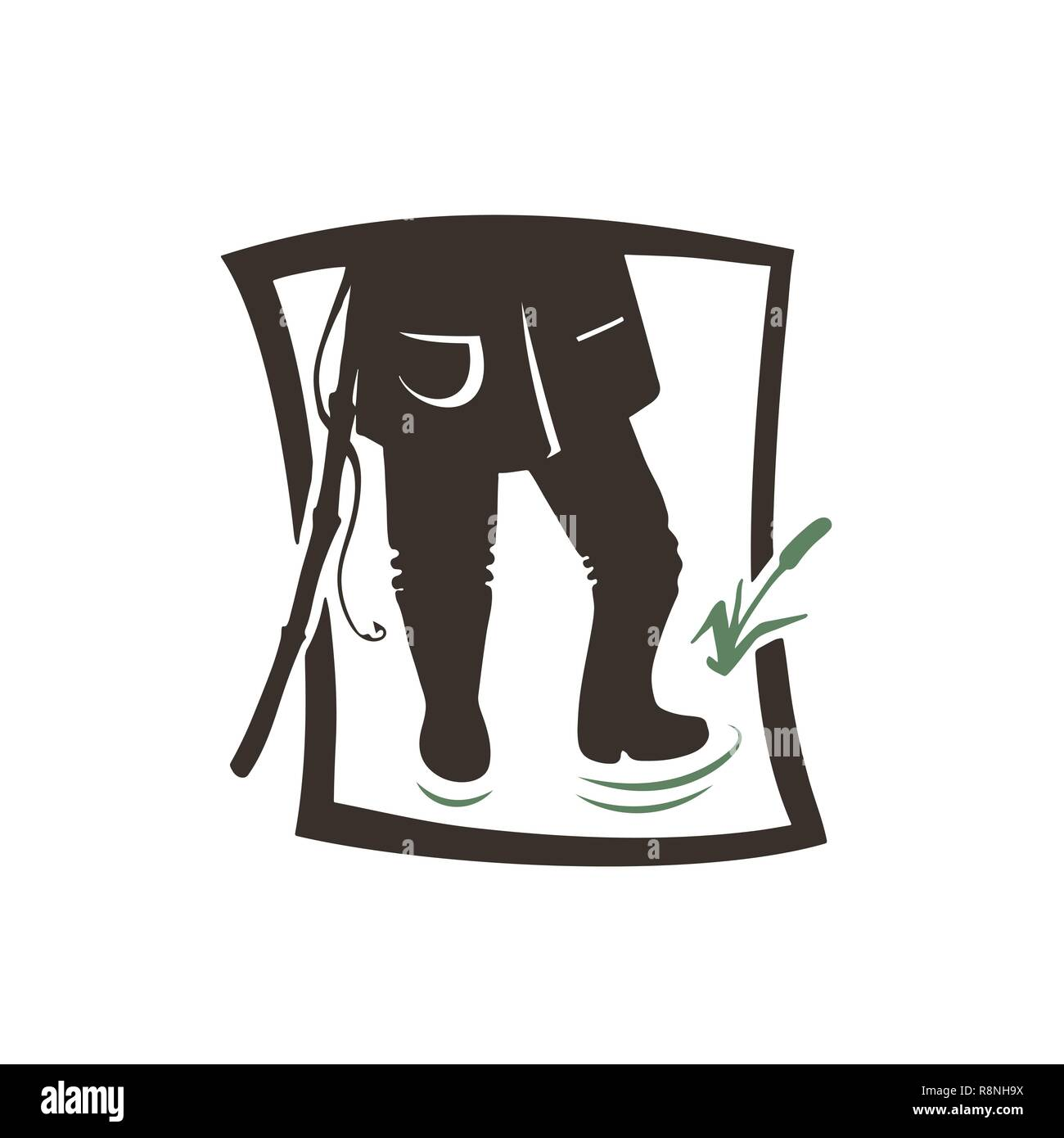 Silhouette of angler man. Vector illustration icon. Logotype of the fishing shop. - Stock Image