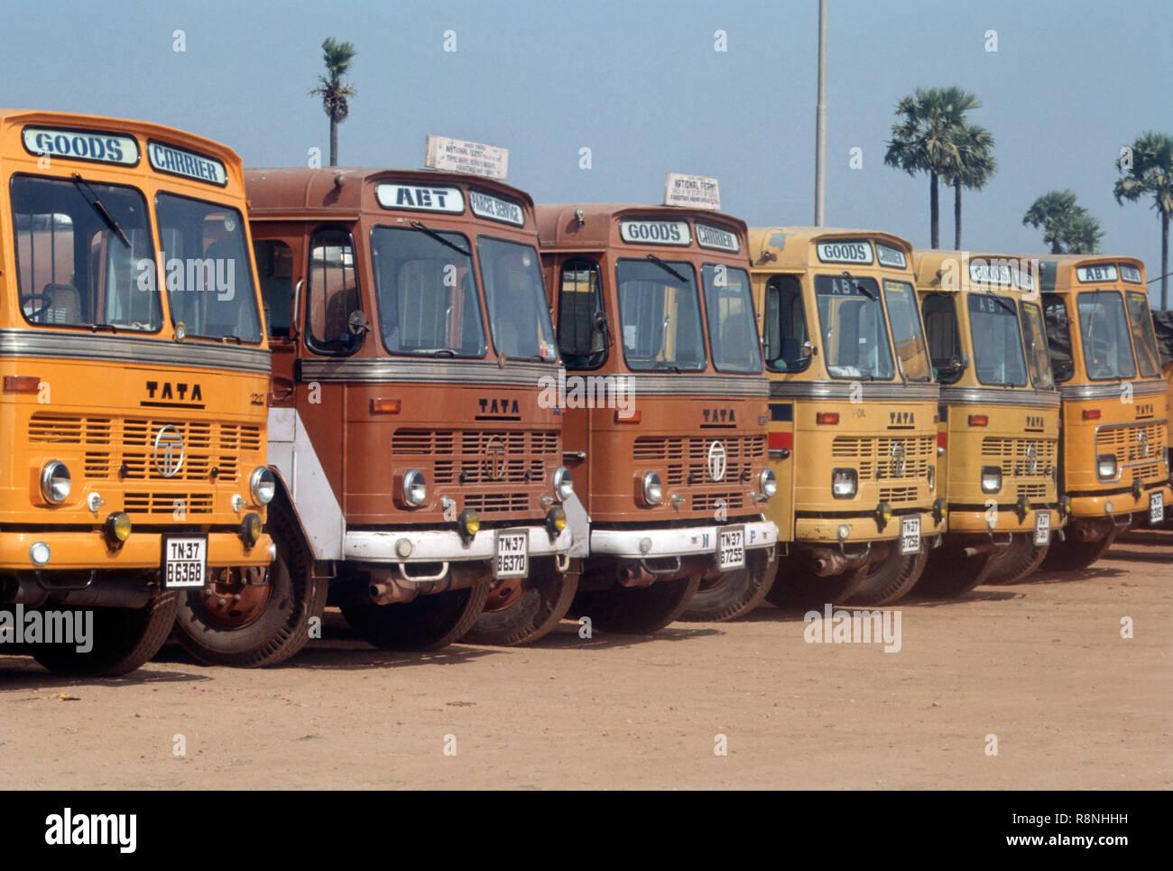 Trucks, Tata Lorries Parked - Stock Image