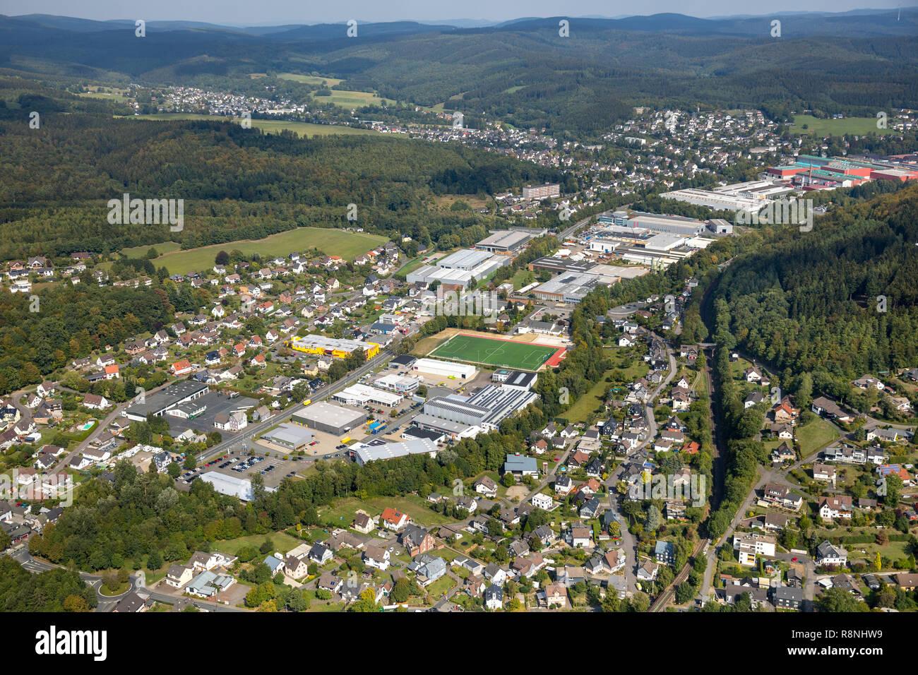 Aerial view, overview industrial park, sports field Kredenbach, Kreuztal, Hilchenbach, circle Siegen-Wittgenstein, North Rhine-Westphalia, Germany, Eu - Stock Image