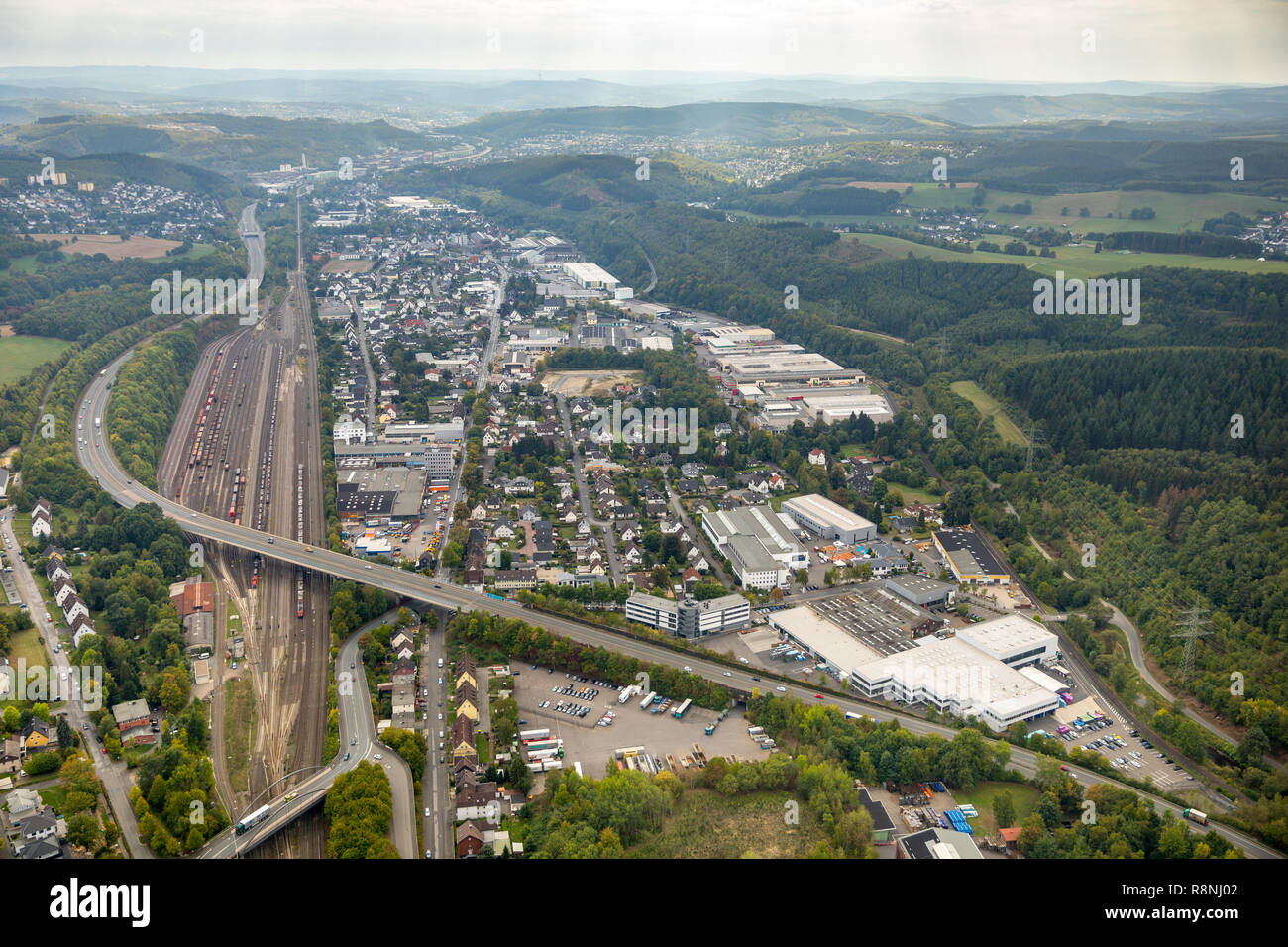 Aerial view, Kreuztal station, Kreis Siegen-Wittgenstein, North Rhine-Westphalia, Germany, Europe, Kreuztal, DEU, birds-eyes view, aerial view, aerial - Stock Image