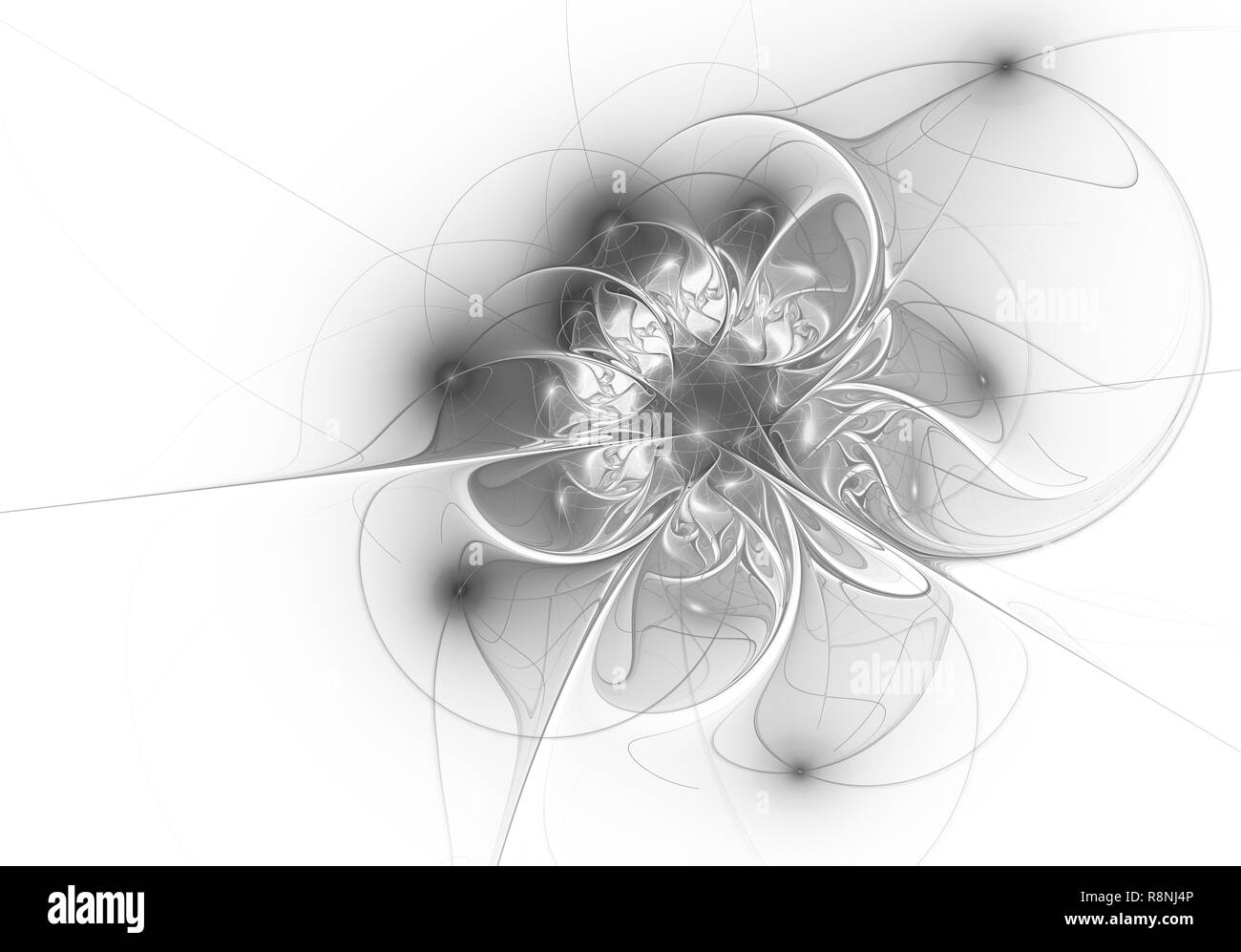 Elegant golden, extremely delicate and translucent flower composition with a silky surface. Computer generated graphics. - Stock Image