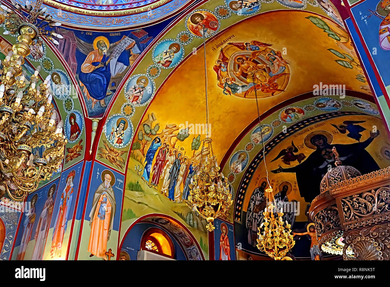 KFAR CANA, ISRAEL - SEPTEMBER 21, 2017: Interior of greek orthodox church of St. George, Kfar Cana (Kafr Kanna), Israel Stock Photo