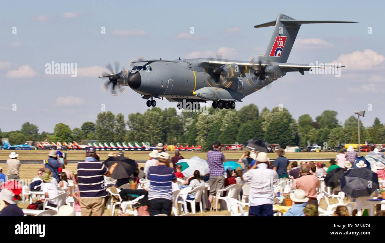 RAF demonstrating the A400M Atlas in front of spectators in the Cotswold Club at the 2018 Royal International Air Tattoo - Stock Image