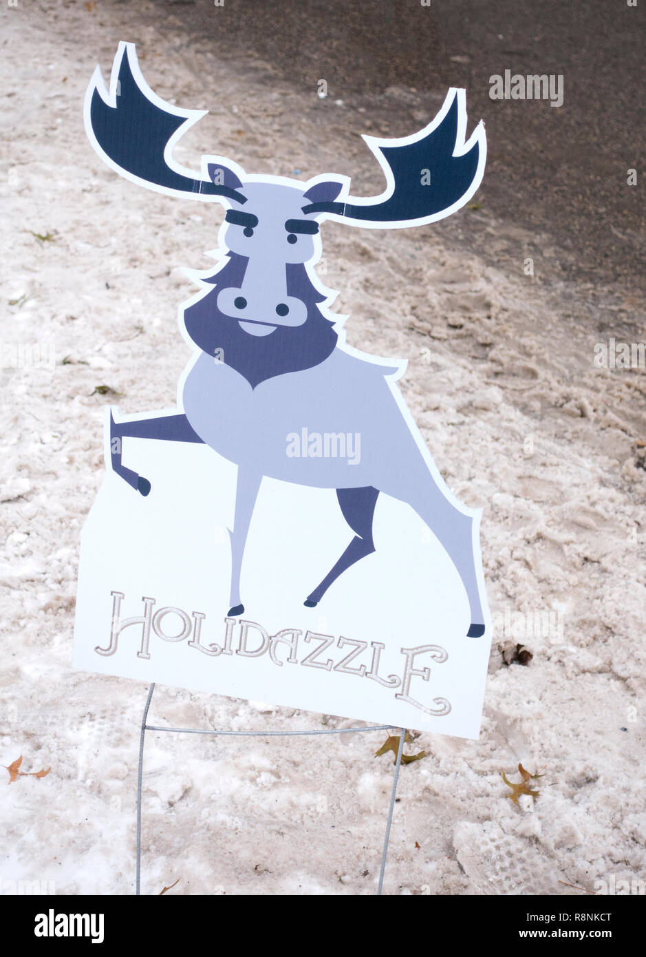 Sign of a moose advertising Holidazzle Winter Event in Loring Park. Minneapolis Minnesota MN USA - Stock Image