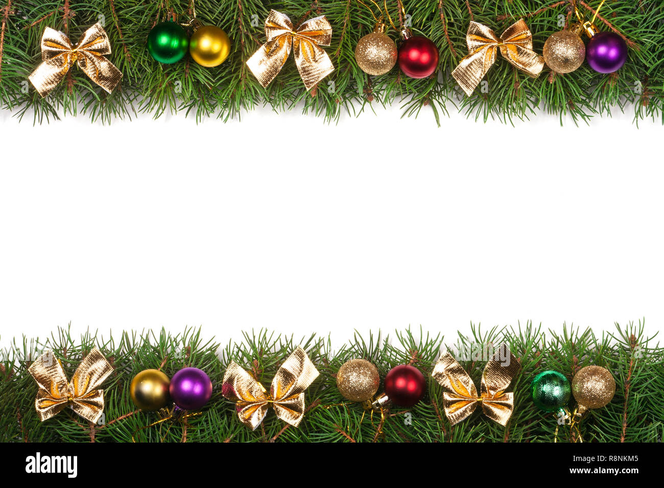 Christmas Frame.Christmas Frame Made Of Fir Branches Decorated With Balls