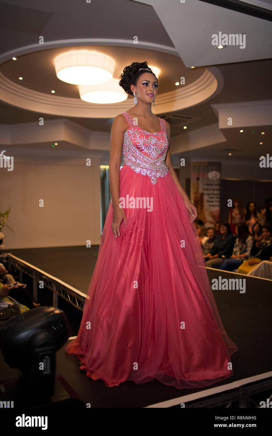Fashion Show with Indian Models at Wedding Exhibition in Bedford August 2014 - Stock Image