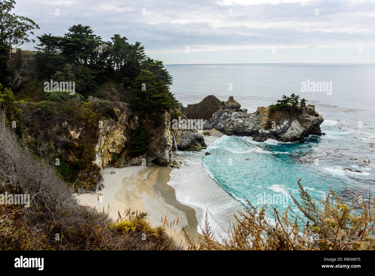 McWay Falls cove located in Big Sur highway road 1, California, USA. - Stock Image