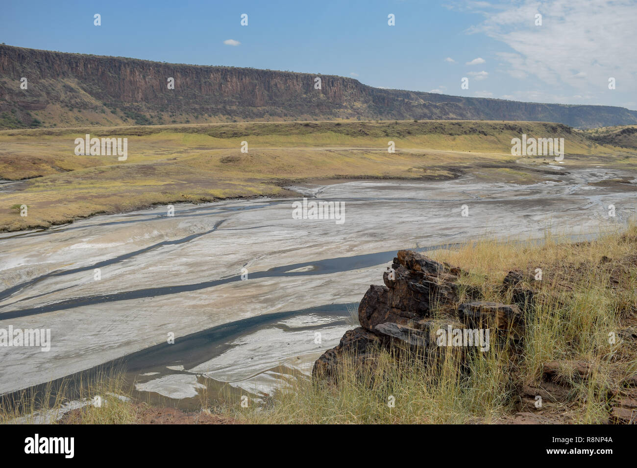 The arid landscapes of Lake Magadi, Rift Valley, Kenya Stock Photo