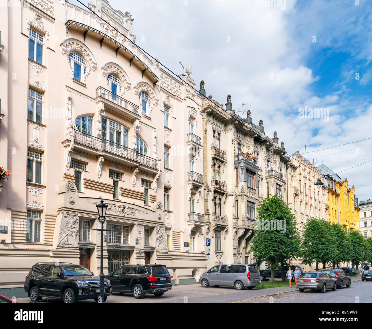 Art Nouveau buildings on Alberta Iela in Centrs (Central Riga), Riga, Latvia - Stock Image