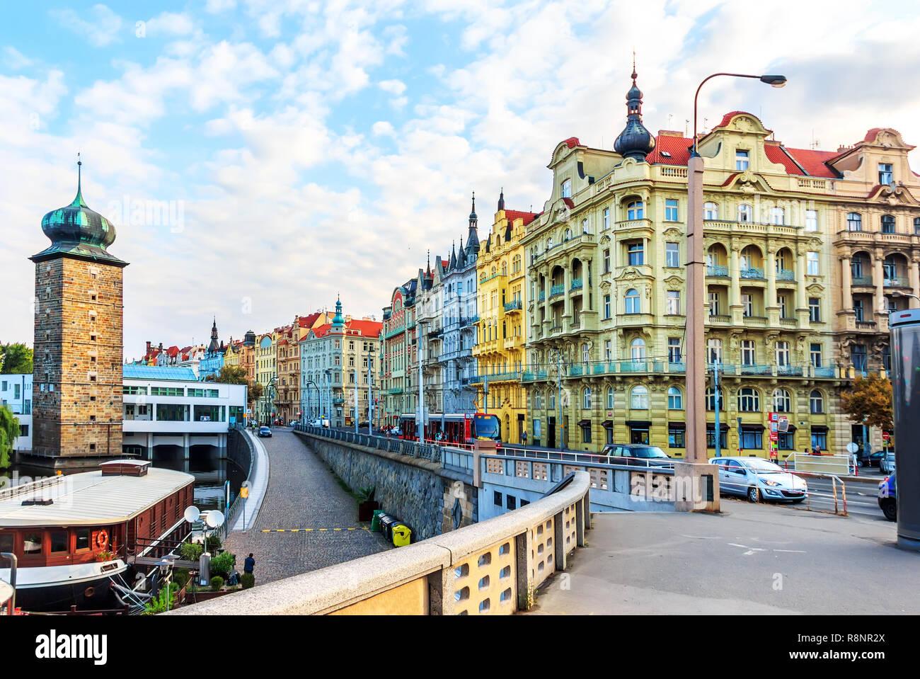 Prague old buildings, view from Jirasek Bridge near the Dancing  Stock Photo