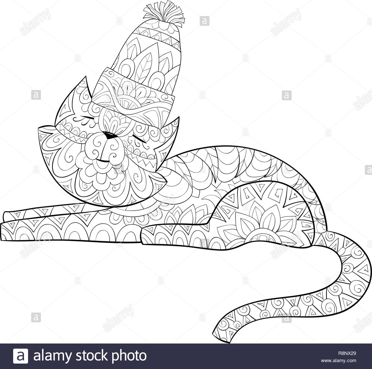 6f53de784 A cute cat wearing a Christmas cap with ornaments image for relaxing  activity.A coloring book,page for adults.Zen art style illustration for  print.Pos