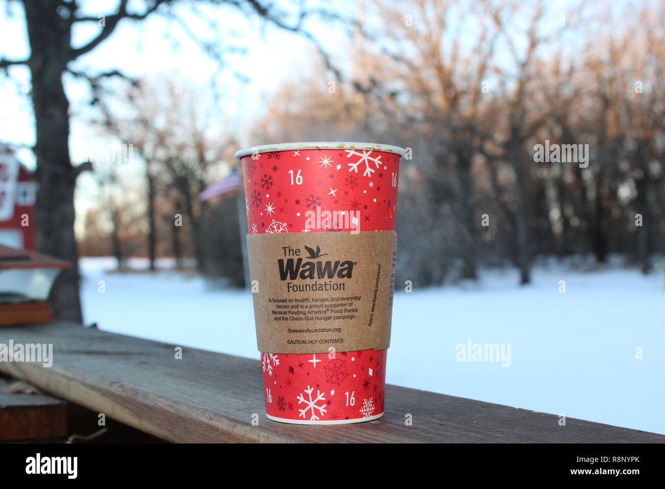 Hot Wawa coffee on a cold morning - Stock Image