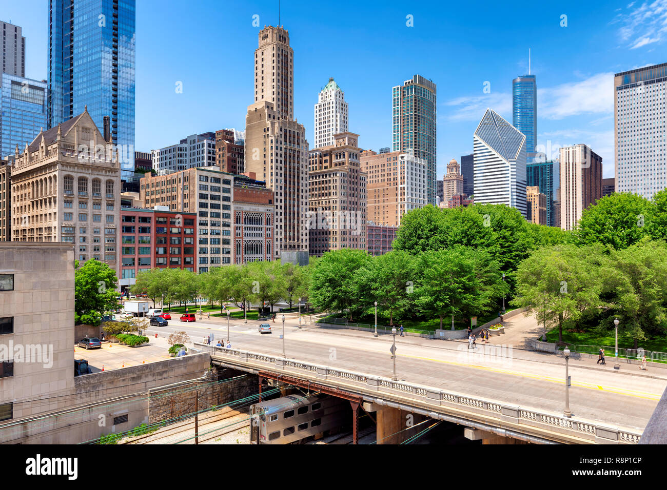 Scenic view of Chicago downtown at summer day, Chicago, Illinois. - Stock Image