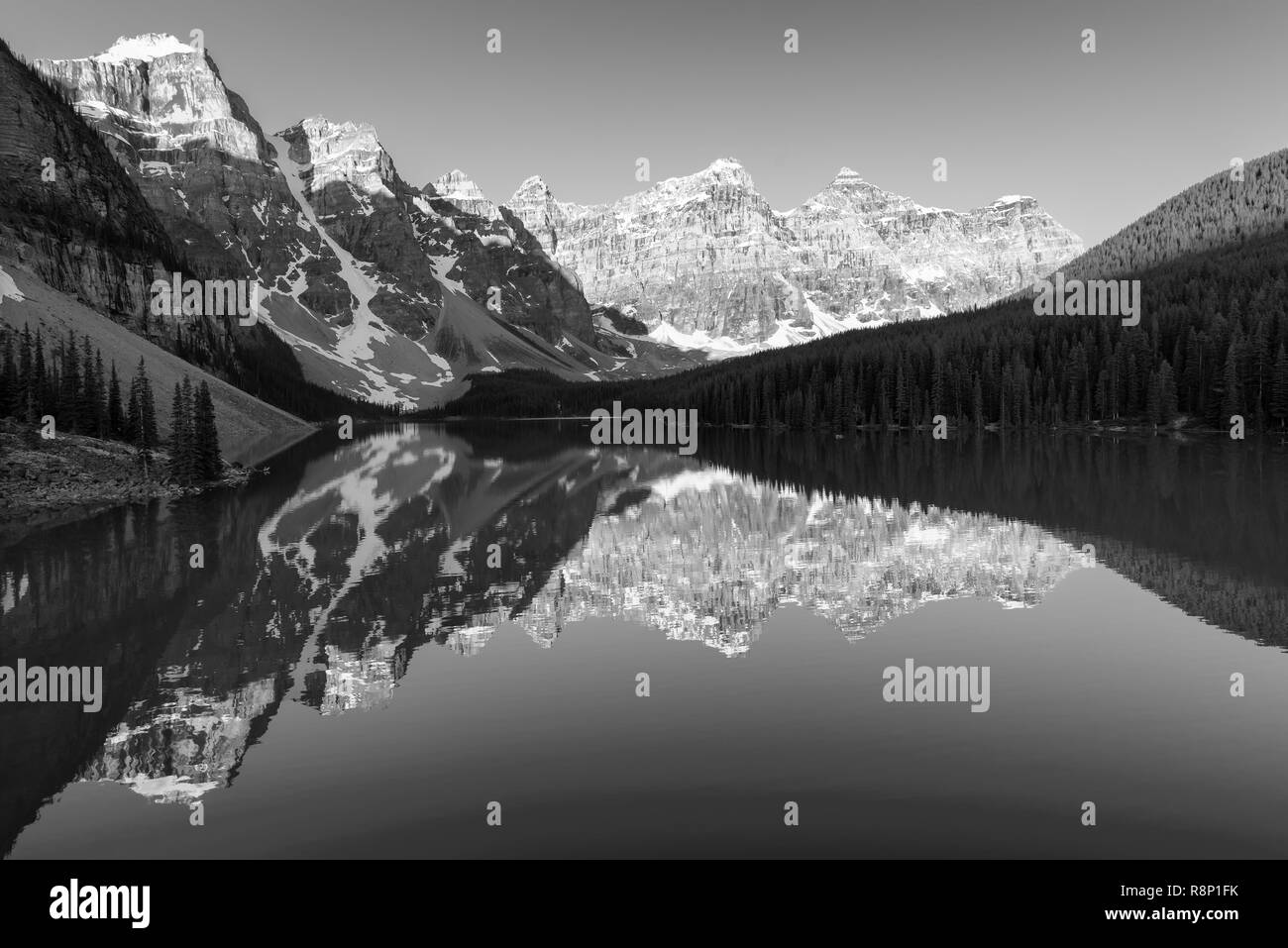 Sunrise at Moraine lake, Canada. Black & White. Stock Photo