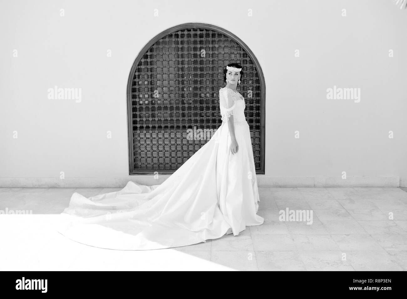 marriage. marriage ceremony of wedding with beautiful bride. marriage in summer. perfect look Stock Photo