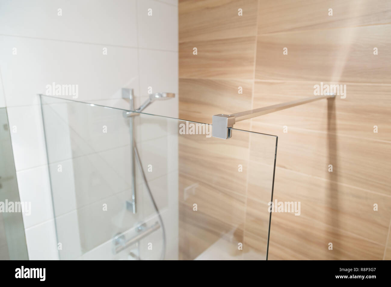 Clamp for Glass curtain for the bathroom. Stock Photo