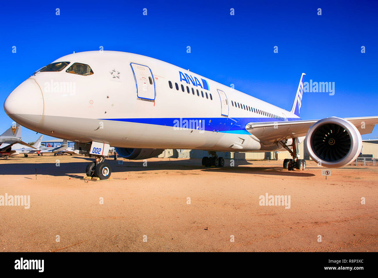 2009 Boeing 767-8 Dreamliner prototype airliner on display at the Pima Air & Space Museum in Tucson, AZ Stock Photo