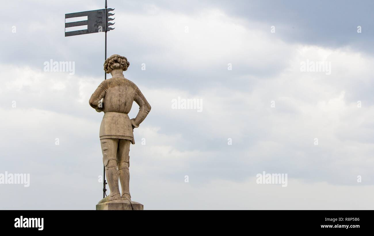 Statue on the rooftop ofMilan Cathedral or Duomo di Milano, Italy - Stock Image