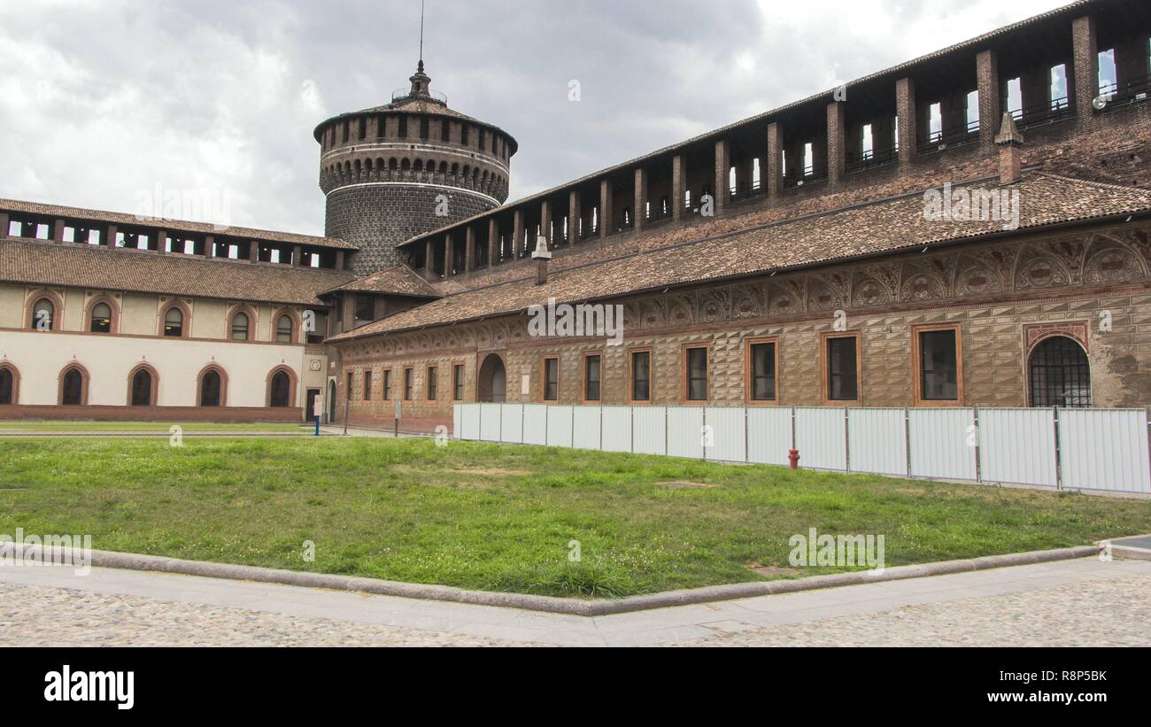 View of Sforzesco Castle Tower in Milano, Italy - Stock Image