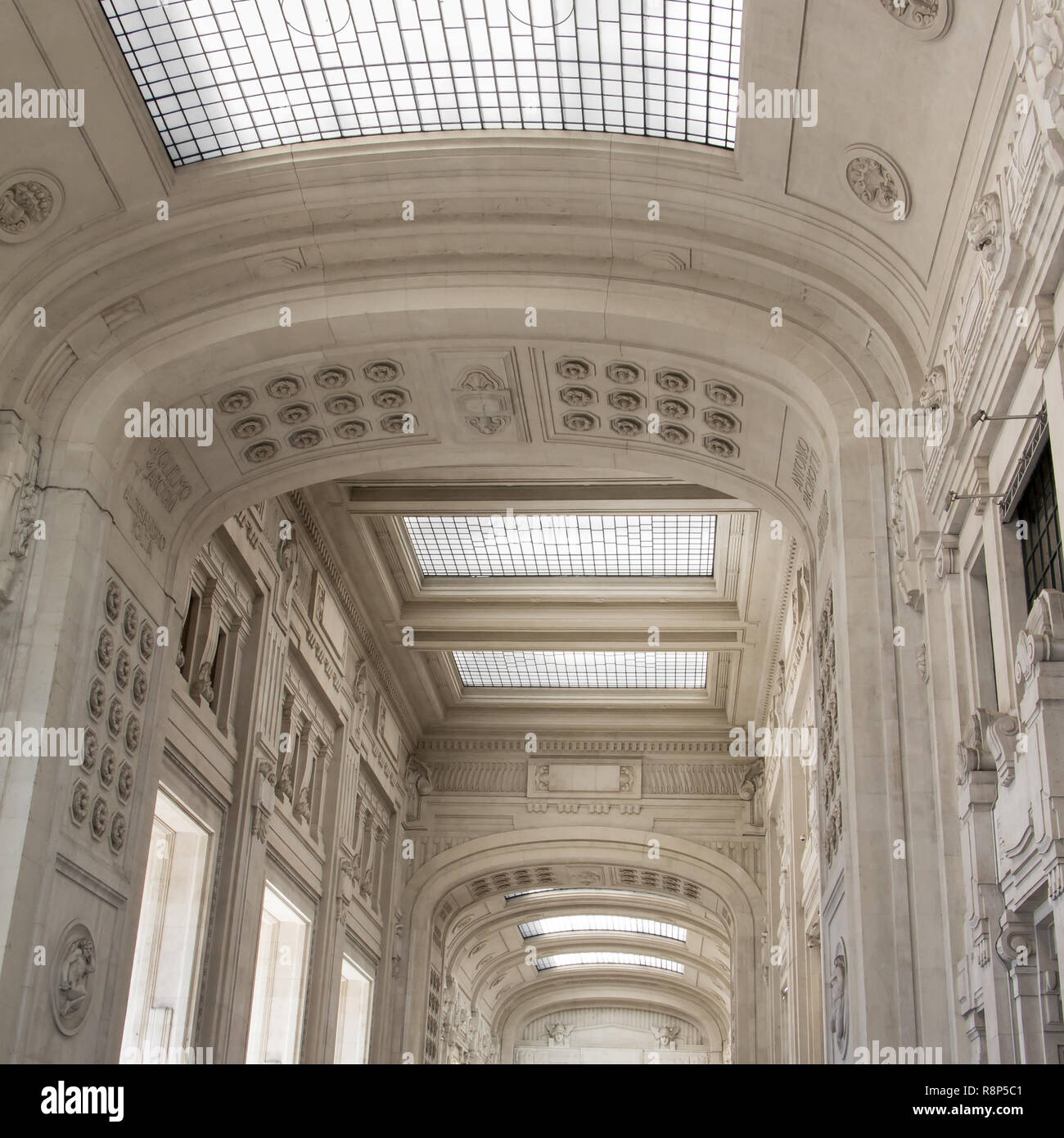 Ceiling of central station Milano, Italy - Stock Image