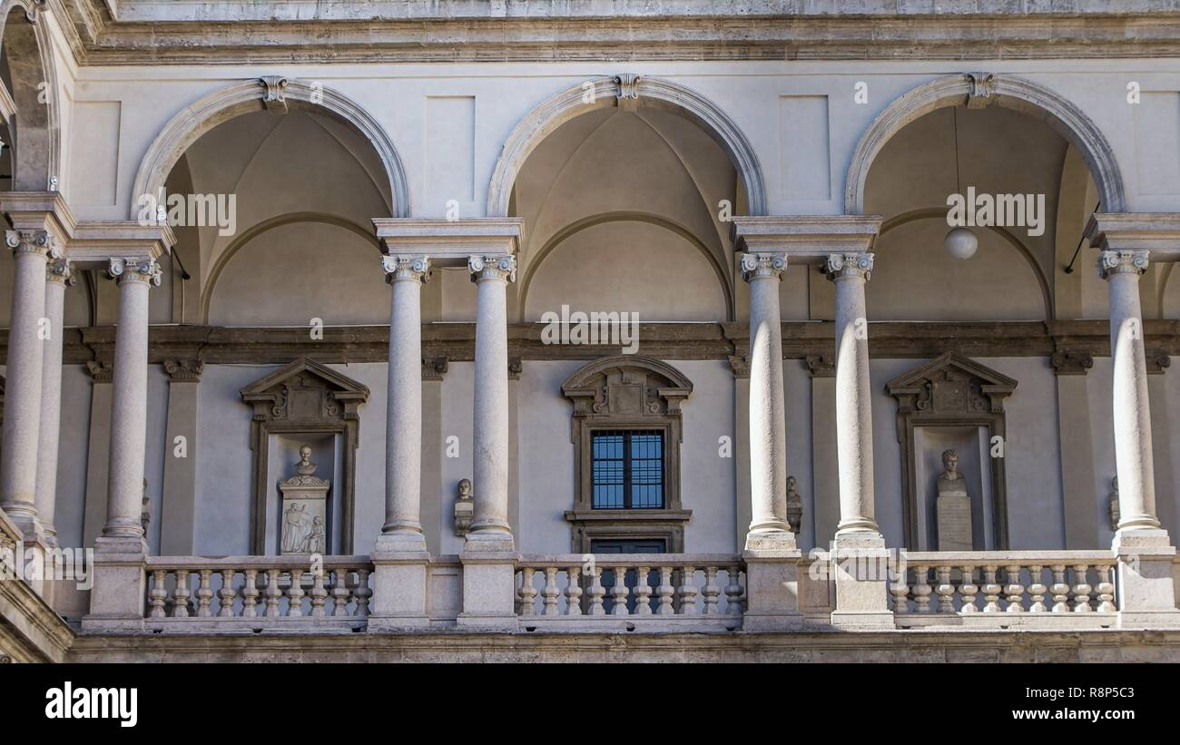 Courtyard at the entrance of Palace of Brera in Milano in Italy - Stock Image
