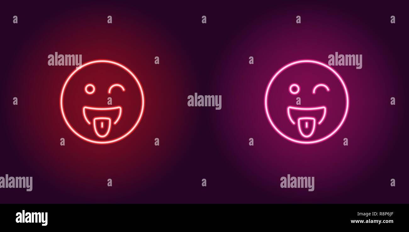 Neon illustration of teasing emoji. Vector icon of cartoon teasing emoji with tongue and squinting face in outline neon style, red and pink colors. Gl - Stock Vector
