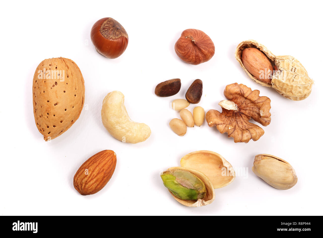 mixed of nuts isolated on white background  Almonds, cashews