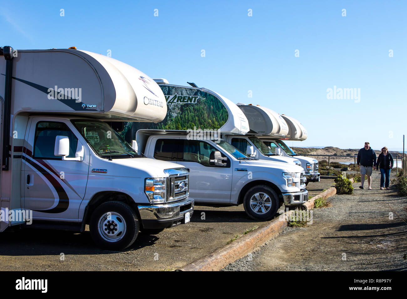 Row of RV's parked in parking lot off California Highway one (PCH