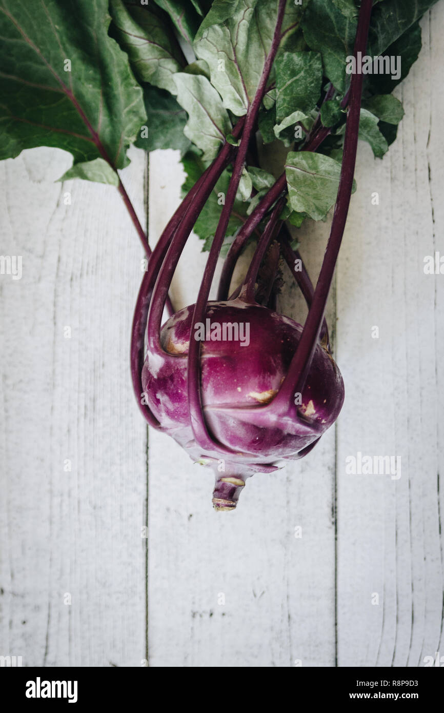 The color of a purple kohlrabi is so tempting that you probably cannot resist to buy a whole bunch at the next farmers market. - Stock Image