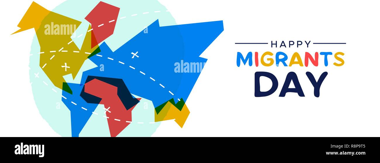 International Migrants Day Web Banner Illustration Colorful World