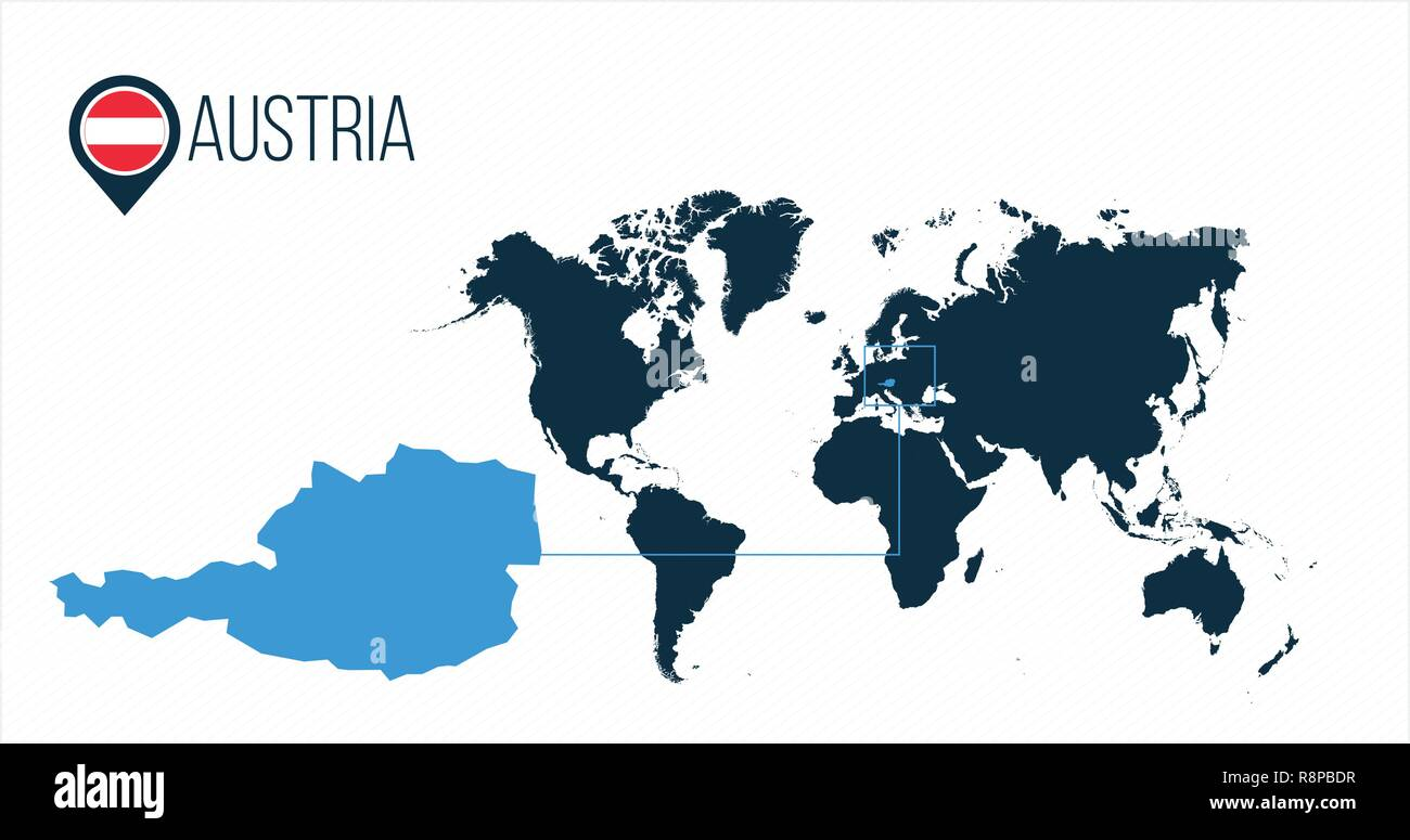Austria location modern vector map for infographics. All world ...