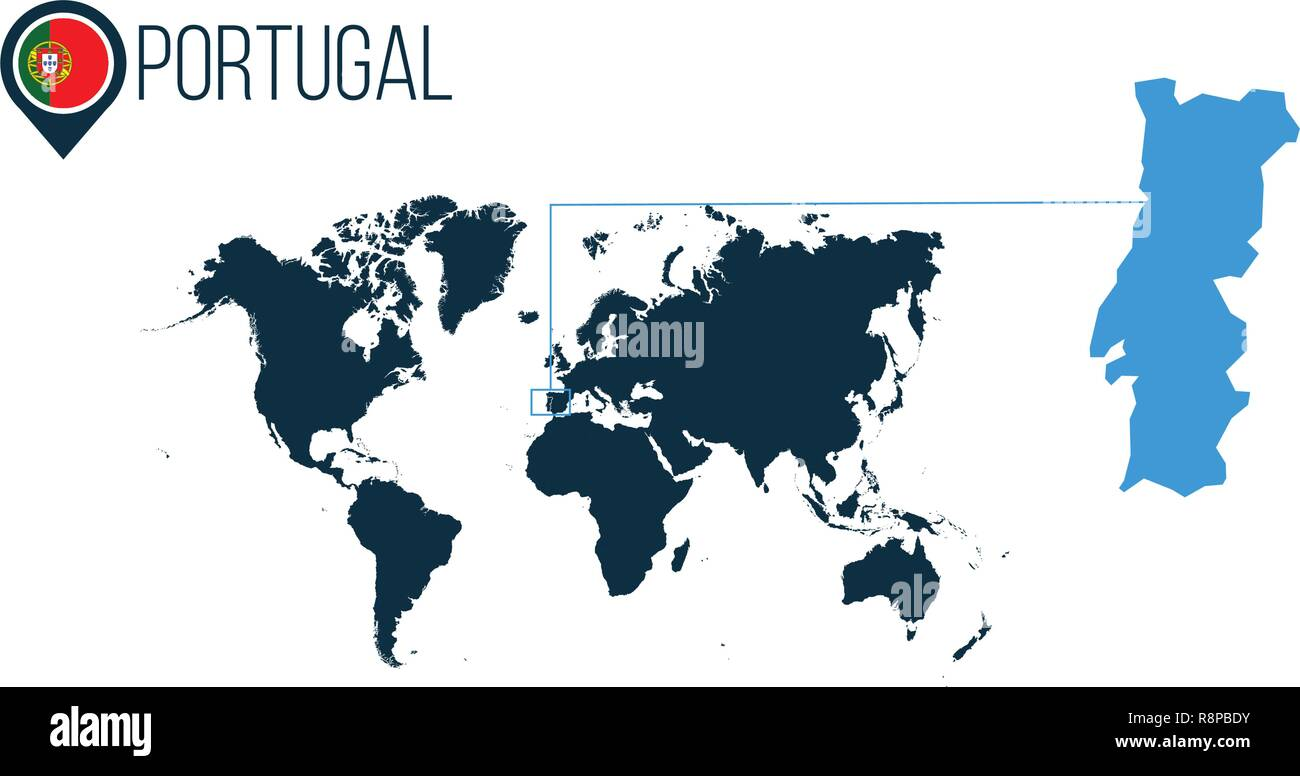 Portugal Location Modern Vector Map For Infographics All World