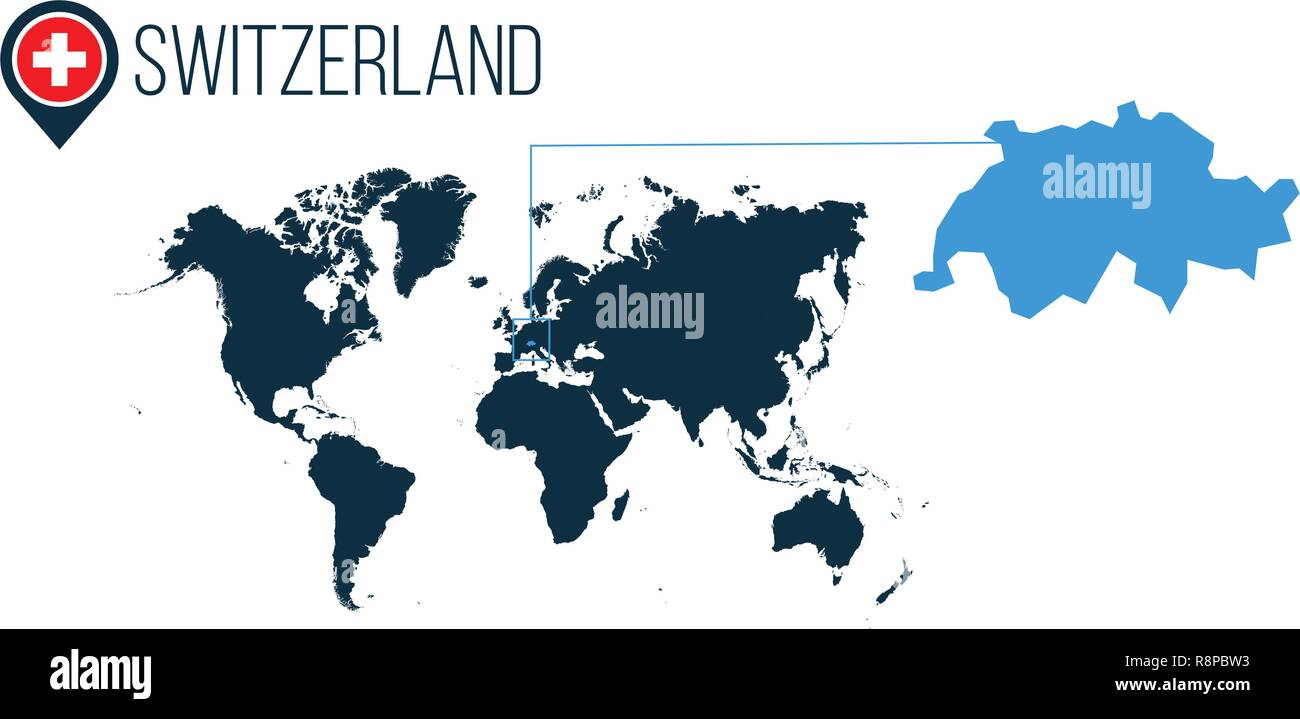 Switzerland Location On The World Map For Infographics All World