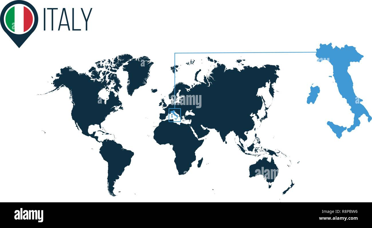 Italy Location On The World Map For Infographics All World