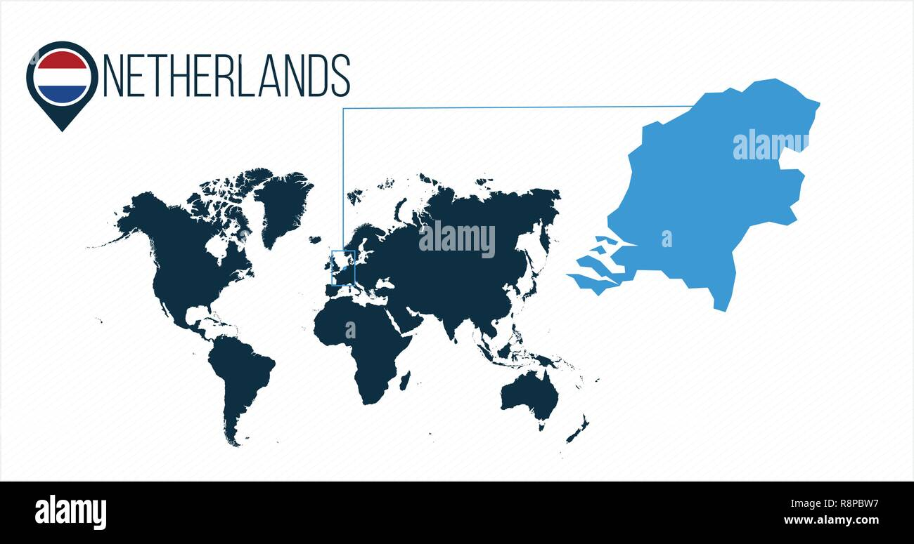 Netherlands location on the world map for infographics. All world countries without names. Netherlands round flag in the map pin or marker. vector ill Stock Vector