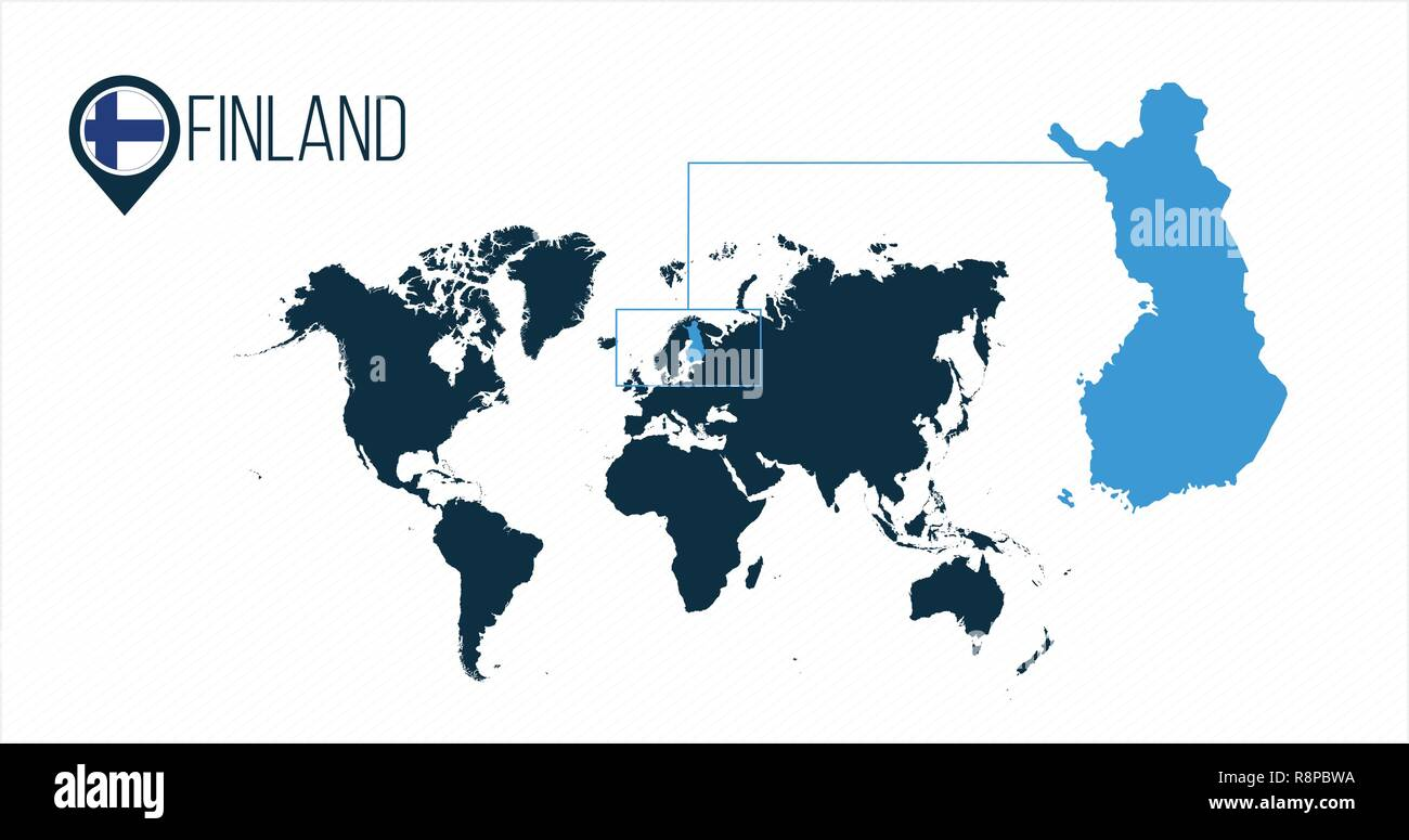Finland Location On The World Map For Infographics All World