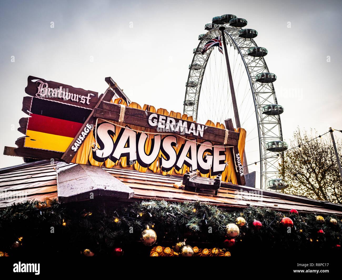 German Sausage food stall at Southbank Winter Market, London, UK. - Stock Image